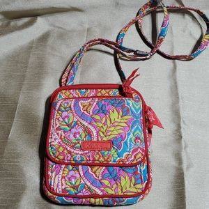 Vera Bradley, cross body purse. Red and pink